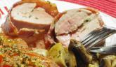 Filet mignon de porc farci, lardé et sa petite garniture