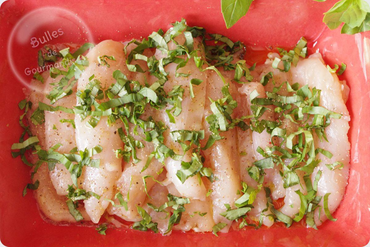 Aiguillettes de poulet marin es pesto d 39 pinards sur pommes de terre au beurre bulles de - Pomme de terre au beurre ...